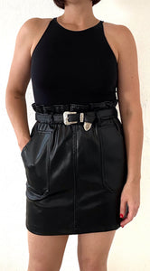 Western Leather Mini Skirt