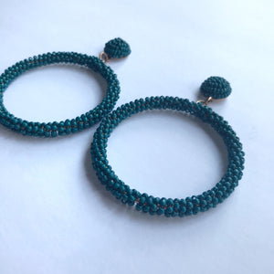 TEAL HOOP EARRINGS