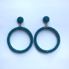 Load image into Gallery viewer, TEAL HOOP EARRINGS