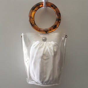 CLEAR TORTIE HOOP BAG