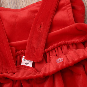 Little Red Bow Dress Girl Cotton