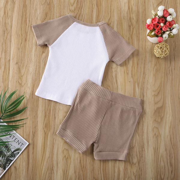 2pcs Neutral Color Summer Outfit Boy Cotton