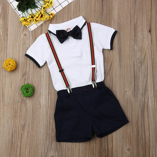 2pcs Formal Bow Tie Summer Outfit Boy Cotton