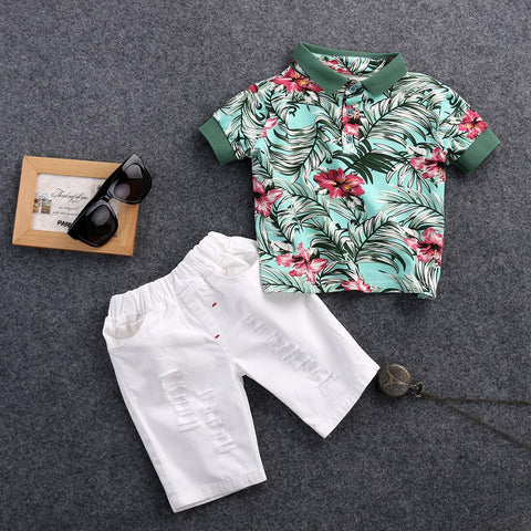 2pcs Casual Floral Summer Outfit Boy Cotton