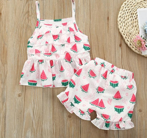 Watermelon Summer Outfit Girl Cotton