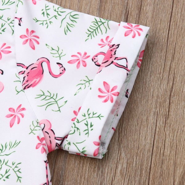 2pcs Flamingo Summer Outfit Boy Cotton