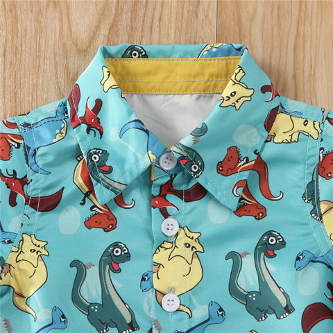 2pcs Dino Cartoon Summer Outfit Boy Cotton