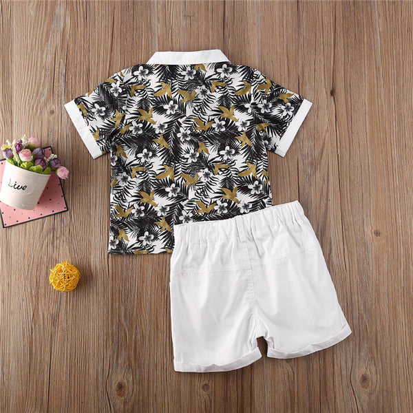 2pcs Cute Floral Summer Outfit Boy Cotton