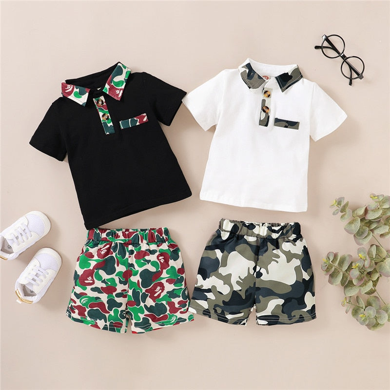 2pcs Polo Shirt Summer Outfit Boy