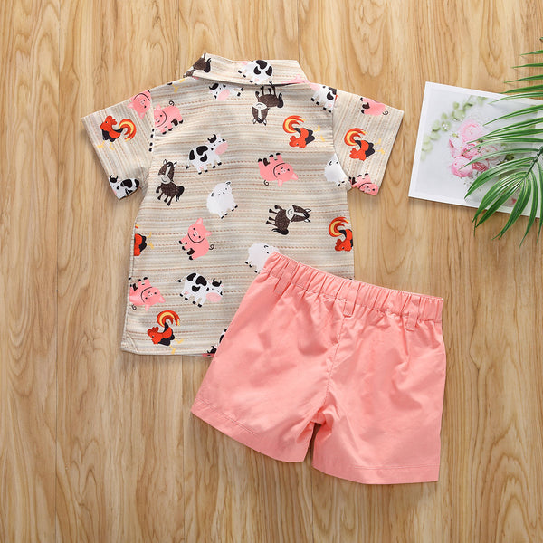 2pcs Cute Animal Summer Outfit