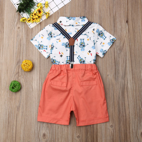 2pcs Cute Summer Gentleman Outfit Boy Cotton