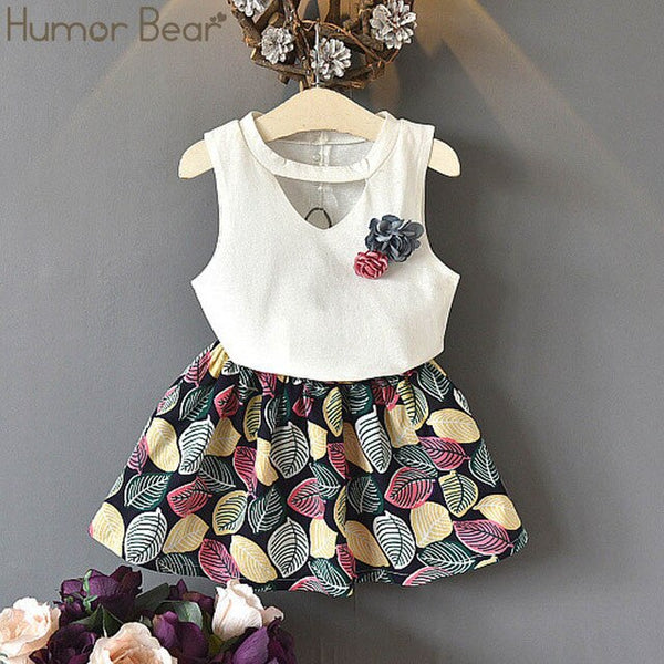 Pink Leaves summer Outfit Girls Cotton