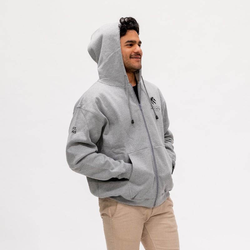 MENS PRINT ZIP POCKET - GREY MARLE
