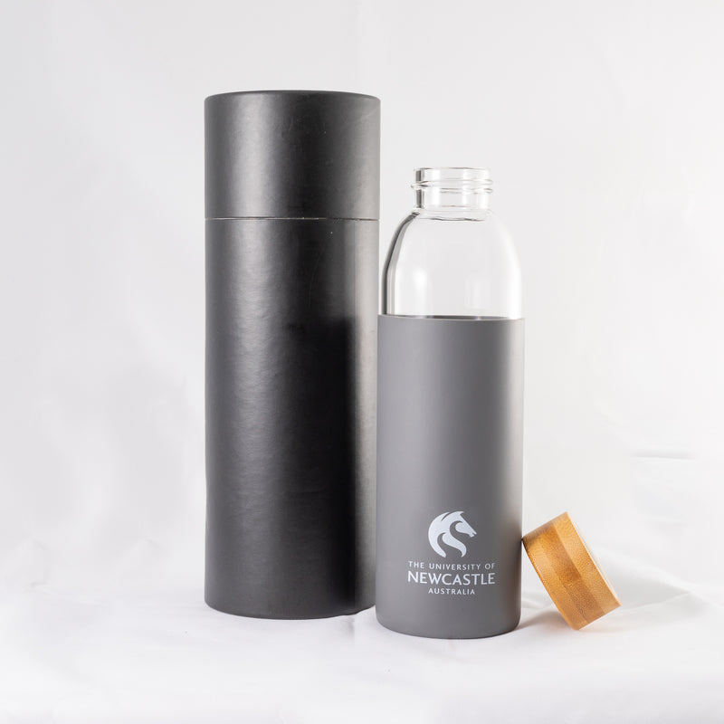 GLASS DRINK BOTTLE WITH BAMBOO LID