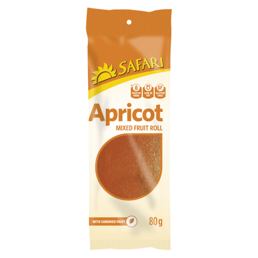 Safari Apricot Fruit Roll 80g - The South African Spaza Shop
