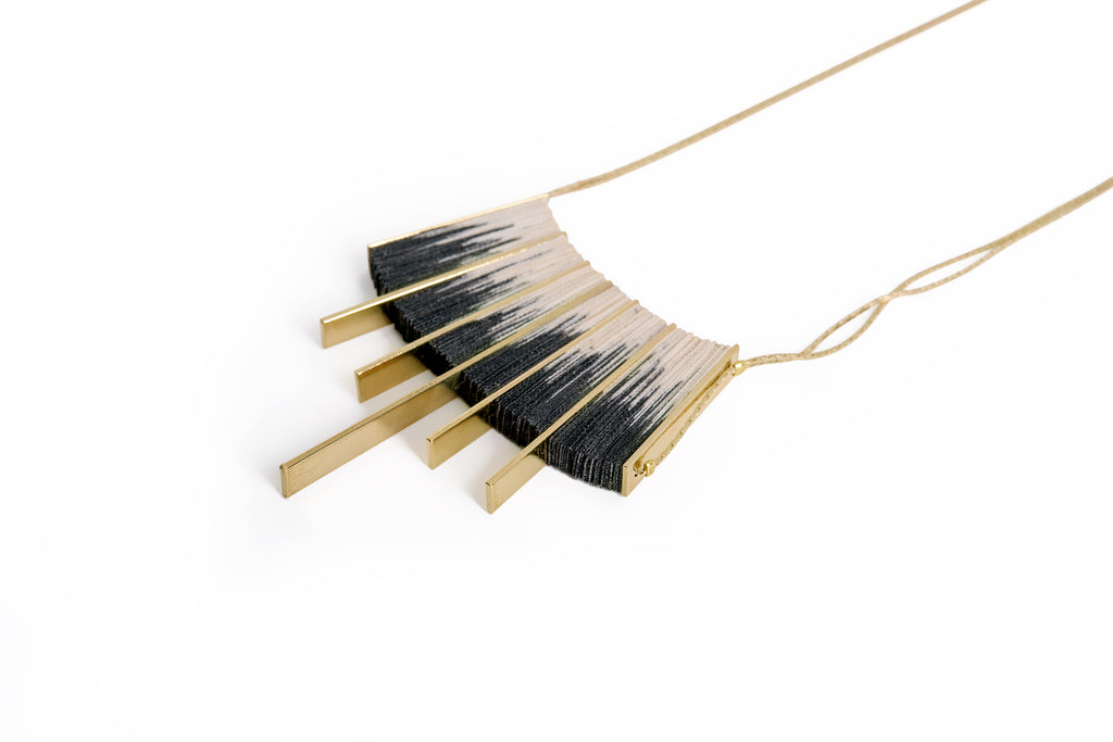 Gold/Black Shibori necklace