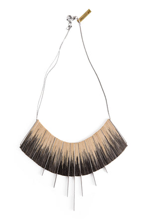 Silver/Black L ikat necklace