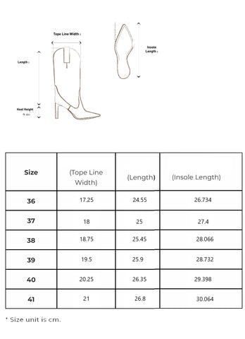 Sia Boots Sizing Guide