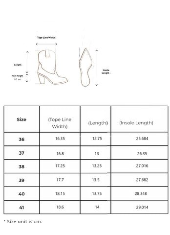 Lora Boots Sizing Guide