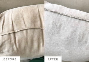 Large brown stains on a white pillow cleaned with Oxygen Boost