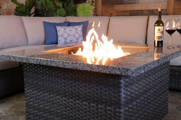 Biscayne Marble Top Gas Fire Pit