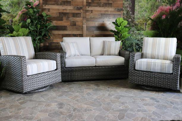 BISCAYNE 3 PIECE SEATING SET - Love Seat and 2 Swivel Gliders
