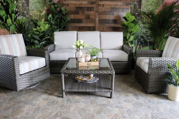 BISCAYNE 4 PIECE SEATING SET - Sofa, 2 Club Chairs and Coffee Table