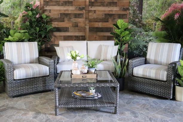BISCAYNE 4 PIECE SEATING SET - Love Seat, 2 Club Chairs and Coffee Table