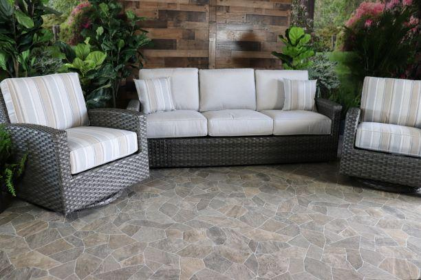 BISCAYNE 3 PIECE SEATING SET- Sofa and 2 Swivel Gliders