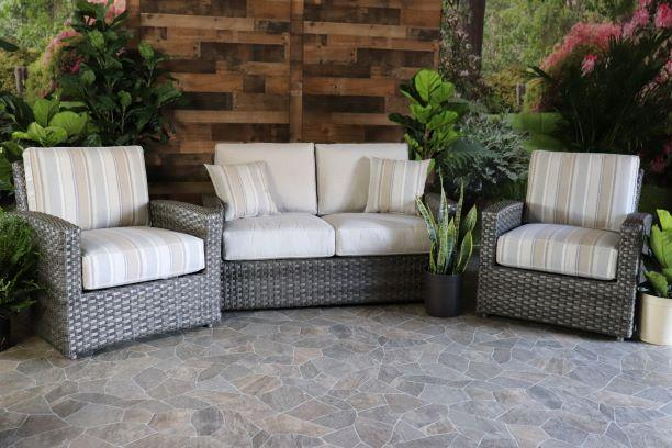BISCAYNE 3 PIECE SEATING SET - Love Seat and 2 Club Chairs