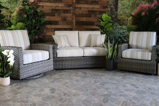 BISCAYNE 3 PIECE SEATING SET- Love Seat , Club Chair, and Swivel Glider