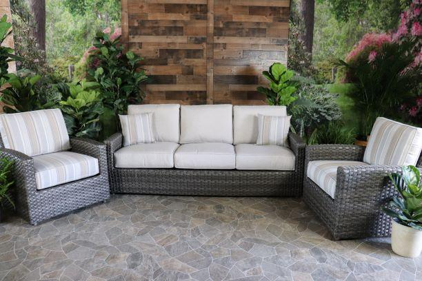 BISCAYNE 3 PIECE SEATING SET - Sofa and 2 Club Chairs