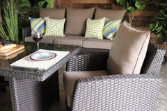 BRIGHTON 4 PIECE SEATING/DINING SET- Sofa, 2 Club Chairs and Chow Table
