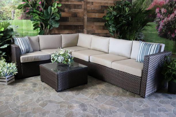 Portofino Sectional with Sunbrella Cushions and Coffee Table