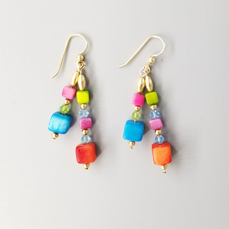 Bright Rainbow Tagua Nut Earrings