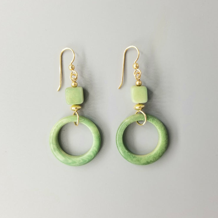 Cubes and Hoops Tagua Nut Earrings