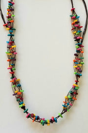 Soft Matte Rainbow Chips Tagua Nut Necklace