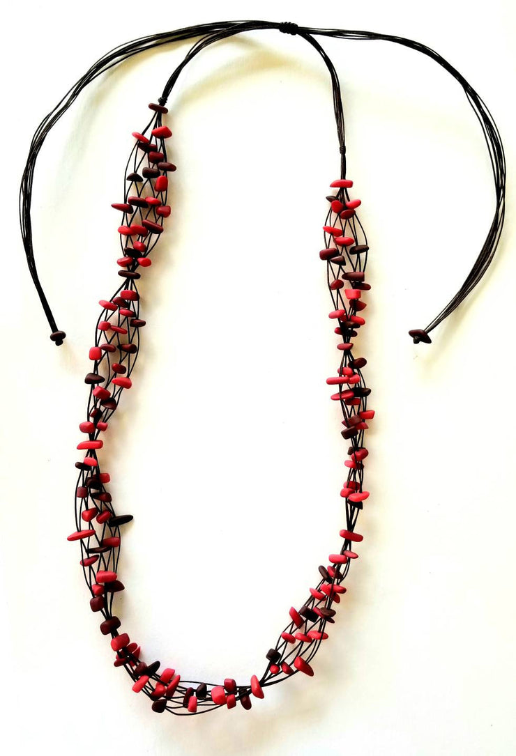 Red Chips Tagua Nut Necklace
