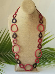 Deep Reds Tagua Nut Beads Necklace