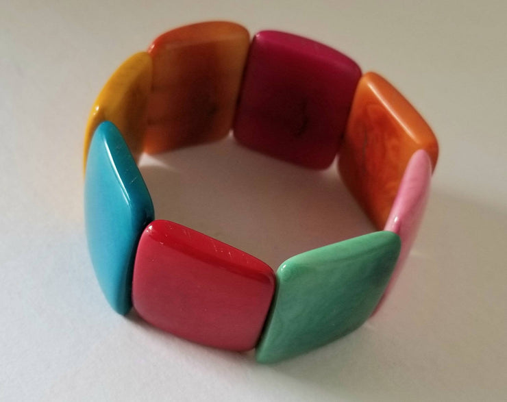 Tagua Nut Bracelet in Bright Colors