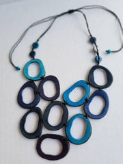 Turquoise and Blue Tagua Nut Necklace