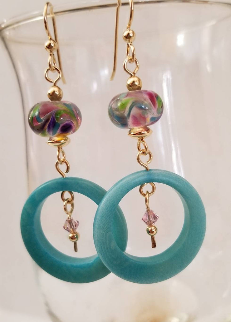 Light Turquoise Tagua Nut Earrings