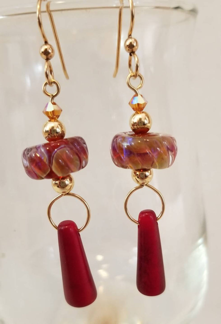 Red Artisan Tagua Nut Earrings