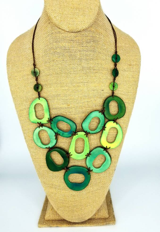 Shades of Green Tagua Nut Necklace