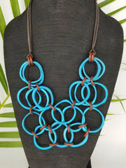 Deep Turquoise and Brown Tagua Nut Necklace