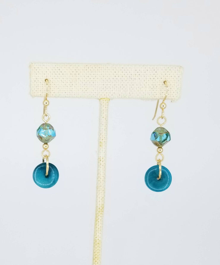 Small Turquoise, Blue, and Gold Tagua Nut Disks with Czech Glass Earrings