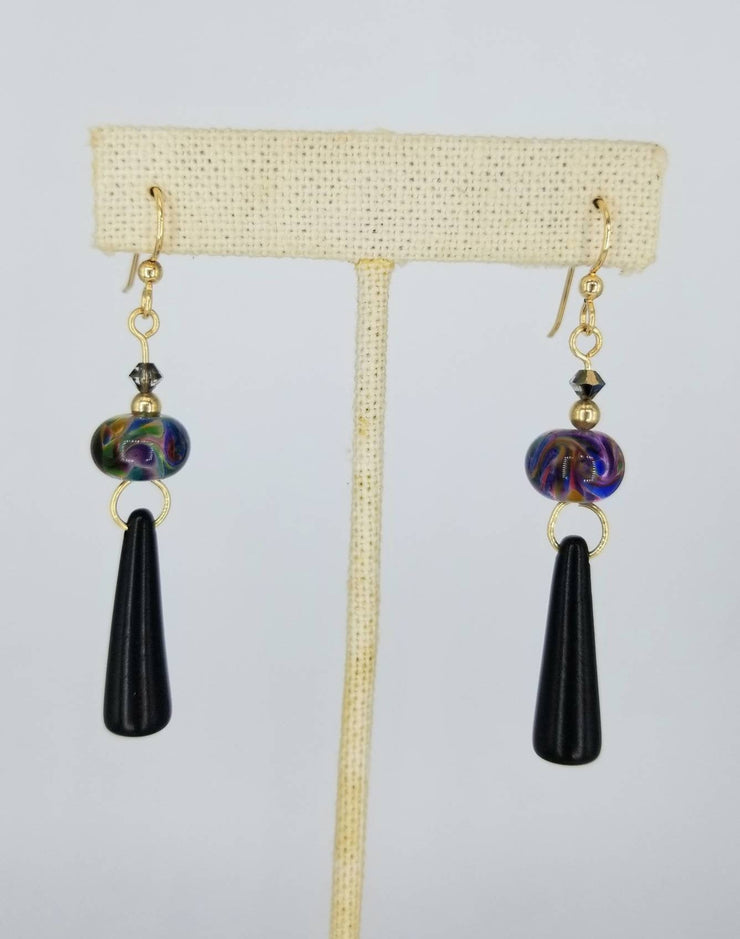 Black Dangles Tagua Nut Earrings