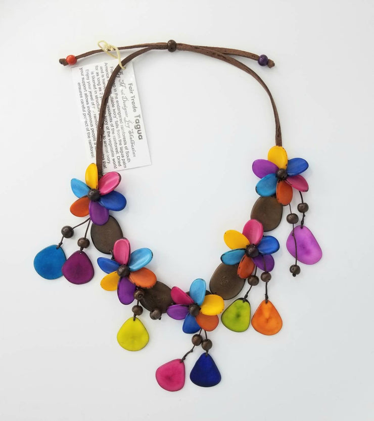Rainbow Tagua Nut Necklace