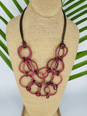 Maroon Red Tagua Nut Necklace