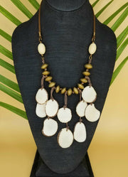 White and Gold Tagua Nut Necklace